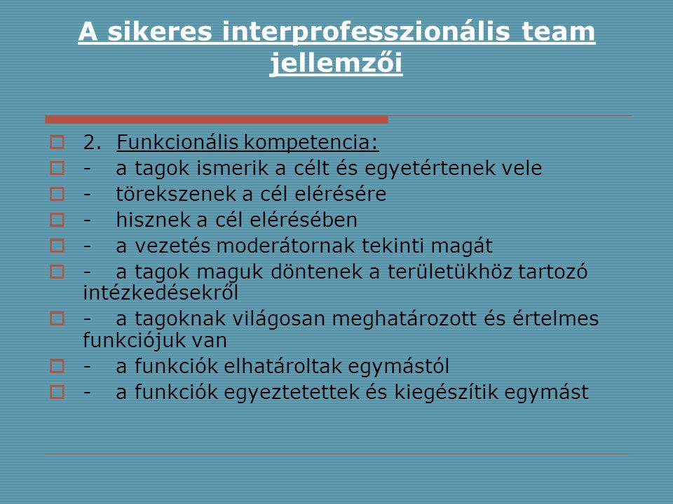 A sikeres interprofesszionális team jellemzői  2. Funkcionális kompetencia:  -a tagok ismerik a célt és egyetértenek vele  -törekszenek a cél eléré