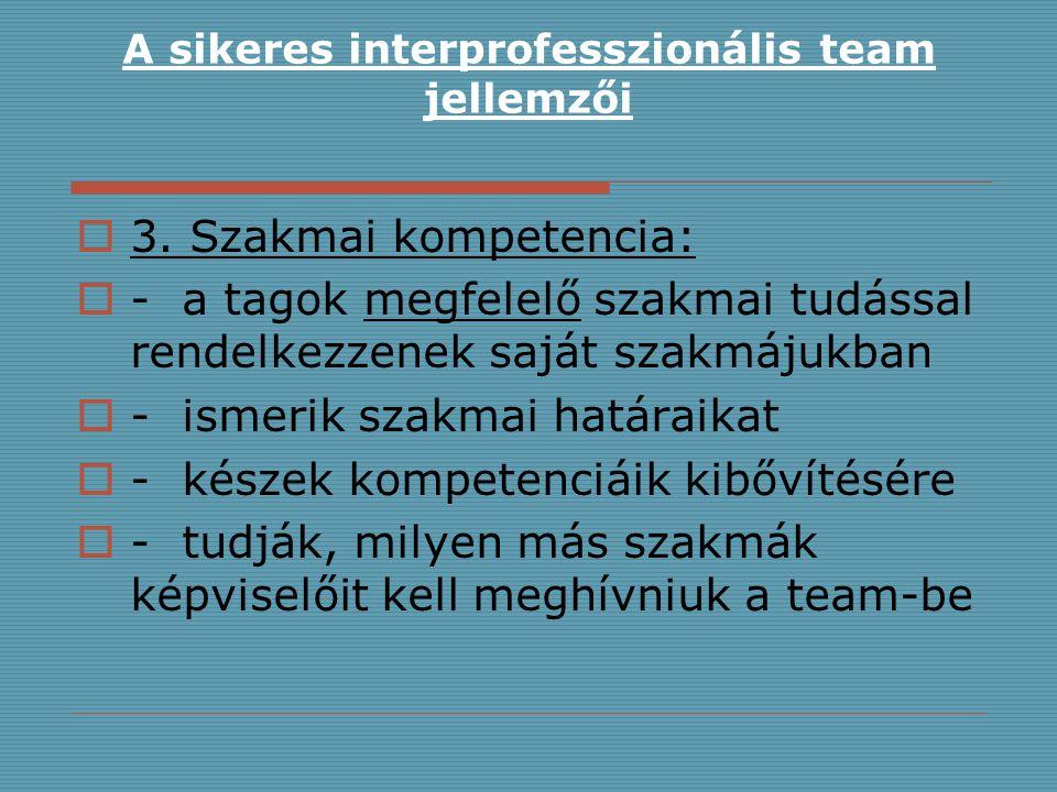 A sikeres interprofesszionális team jellemzői  3. Szakmai kompetencia:  -a tagok megfelelő szakmai tudással rendelkezzenek saját szakmájukban  -ism