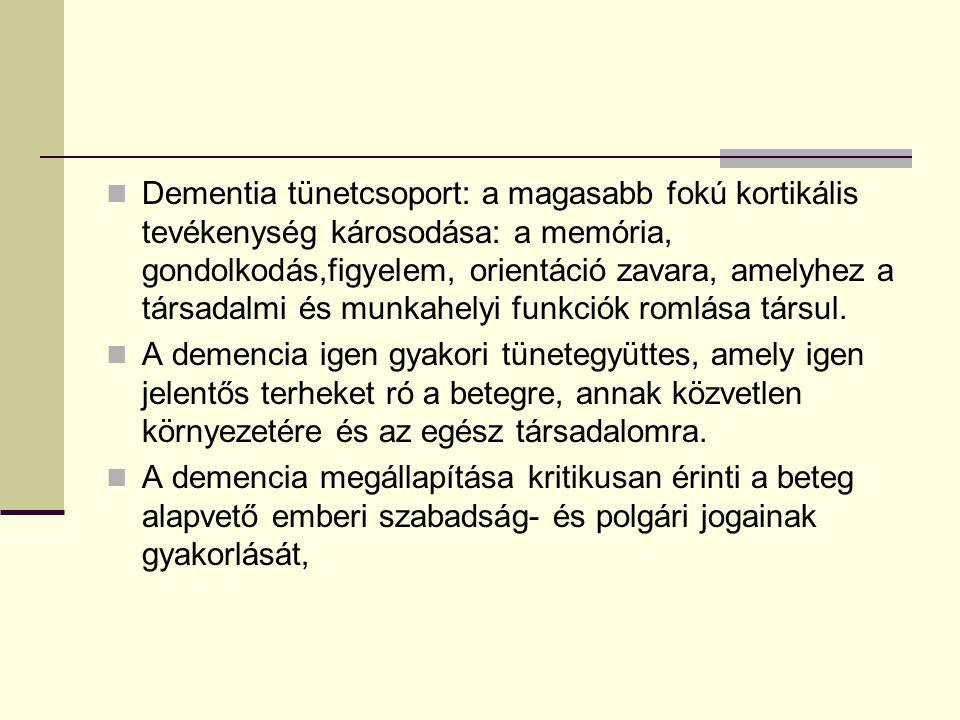 Dementia tünetcsoport: a magasabb fokú kortikális tevékenység károsodása: a memória, gondolkodás,figyelem, orientáció zavara, amelyhez a társadalmi és