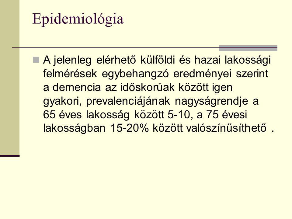 Epidemiológia A jelenleg elérhető külföldi és hazai lakossági felmérések egybehangzó eredményei szerint a demencia az időskorúak között igen gyakori,