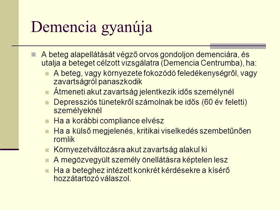 Demencia gyanúja A beteg alapellátását végző orvos gondoljon demenciára, és utalja a beteget célzott vizsgálatra (Demencia Centrumba), ha: A beteg, va