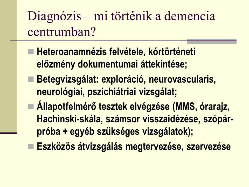 Diagnózis – mi történik a demencia centrumban? Heteroanamnézis felvétele, kórtörténeti előzmény dokumentumai áttekintése; Betegvizsgálat: exploráció,