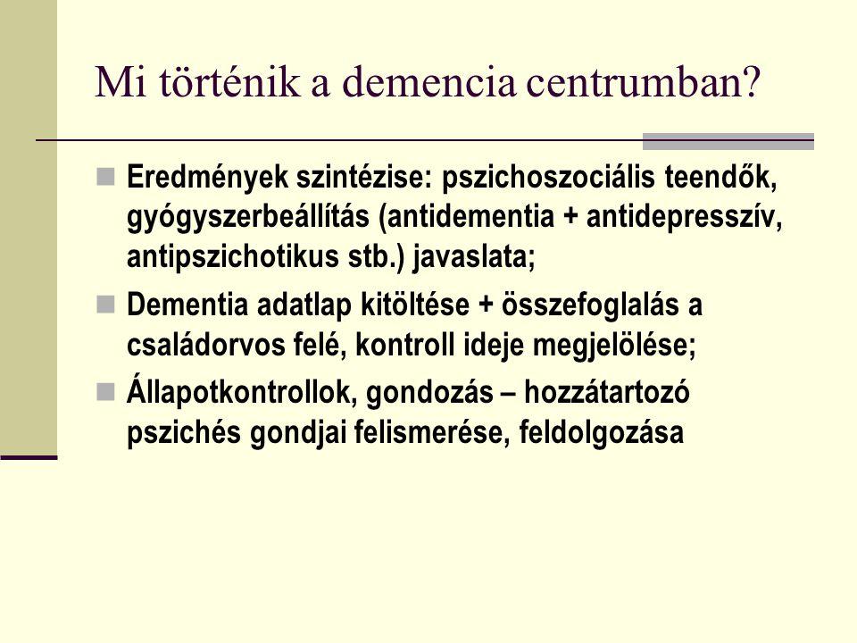 Mi történik a demencia centrumban? Eredmények szintézise: pszichoszociális teendők, gyógyszerbeállítás (antidementia + antidepresszív, antipszichotiku