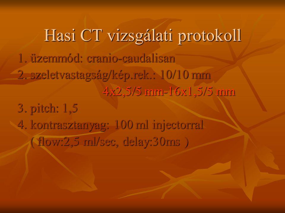 Hasi CT vizsgálati protokoll 1. üzemmód: cranio-caudalisan 2. szeletvastagság/kép.rek.: 10/10 mm 4x2,5/5 mm-16x1,5/5 mm 3. pitch: 1,5 4. kontrasztanya