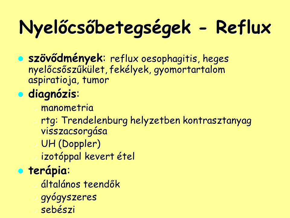 Nyelőcsőbetegségek - Reflux szövődmények: reflux oesophagitis, heges nyelőcsőszűkület, fekélyek, gyomortartalom aspiratioja, tumor szövődmények: reflu