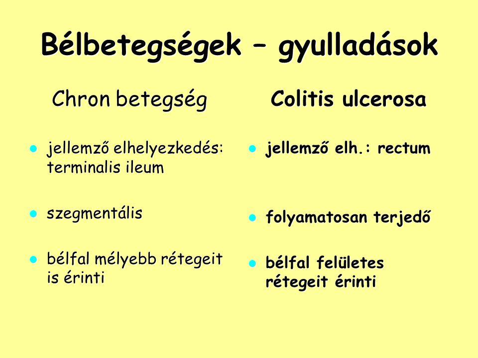 Bélbetegségek – gyulladások Chron betegség jellemző elhelyezkedés: terminalis ileum jellemző elhelyezkedés: terminalis ileum szegmentális szegmentális