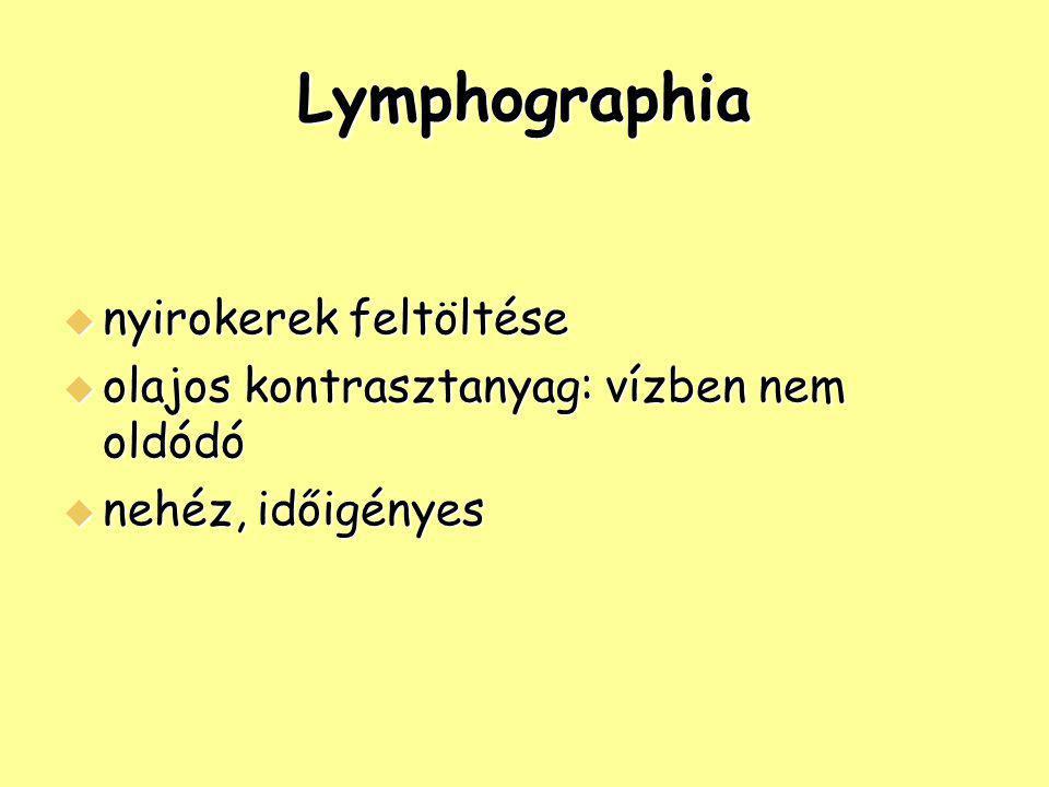 Lymphographia  nyirokerek feltöltése  olajos kontrasztanyag: vízben nem oldódó  nehéz, időigényes
