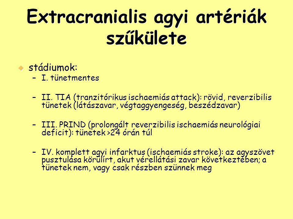 Extracranialis agyi artériák szűkülete  stádiumok: –I. tünetmentes –II. TIA (tranzitórikus ischaemiás attack): rövid, reverzibilis tünetek (látászava