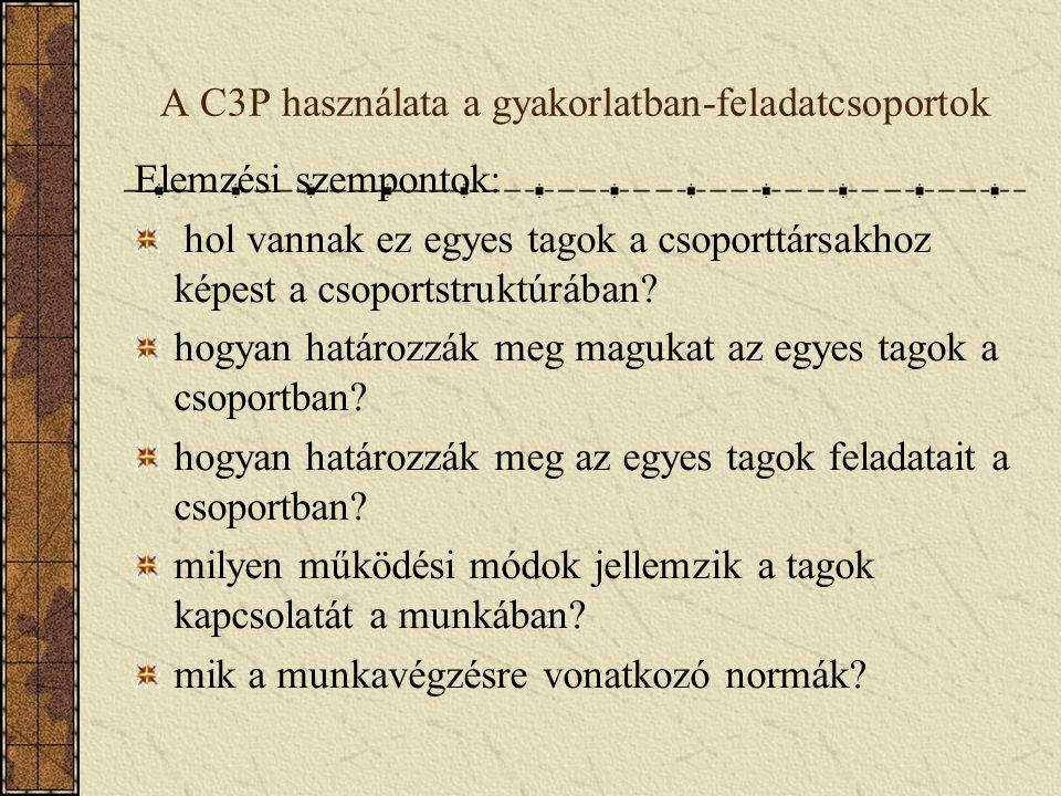 A C3P használata a gyakorlatban-feladatcsoportok Elemzési szempontok: hol vannak ez egyes tagok a csoporttársakhoz képest a csoportstruktúrában? hogya