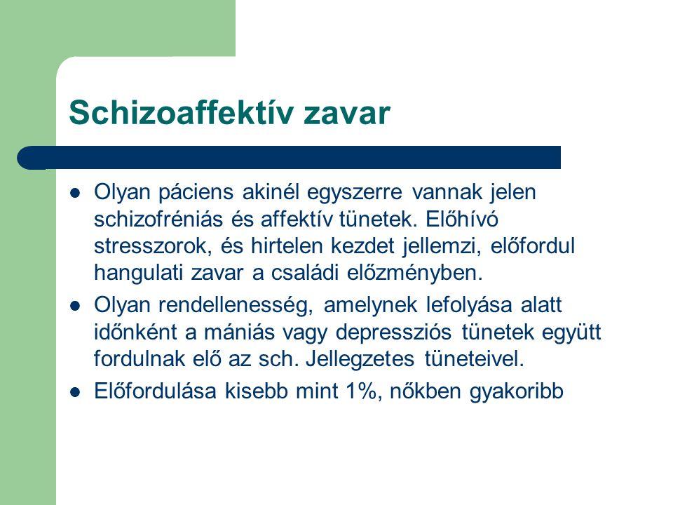 Schizoaffektív zavar Olyan páciens akinél egyszerre vannak jelen schizofréniás és affektív tünetek. Előhívó stresszorok, és hirtelen kezdet jellemzi,