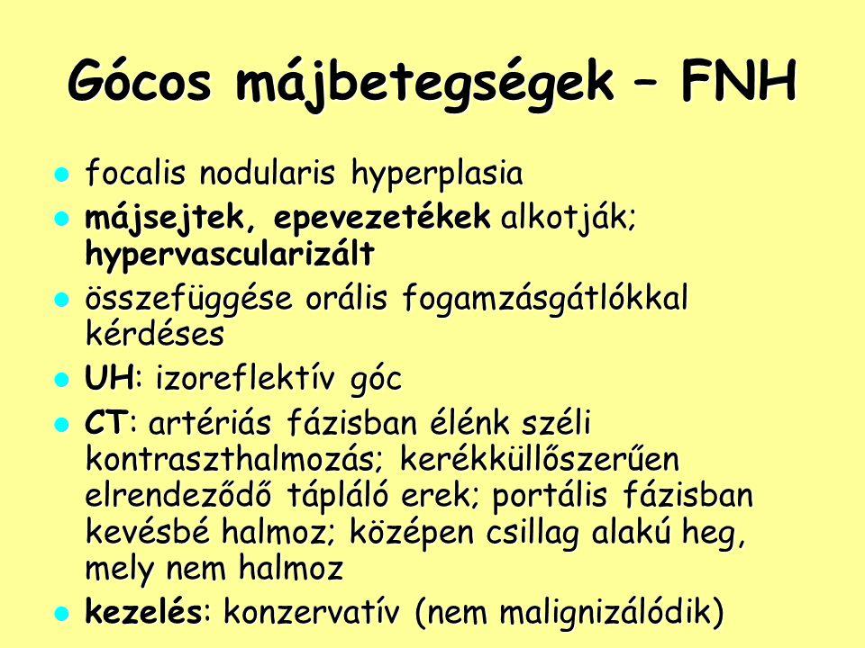 Gócos májbetegségek – FNH focalis nodularis hyperplasia focalis nodularis hyperplasia májsejtek, epevezetékek alkotják; hypervascularizált májsejtek,