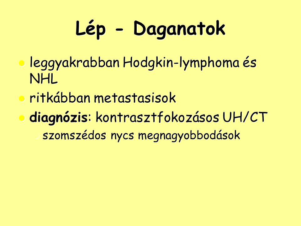 Lép - Daganatok leggyakrabban Hodgkin-lymphoma és NHL leggyakrabban Hodgkin-lymphoma és NHL ritkábban metastasisok ritkábban metastasisok diagnózis: k