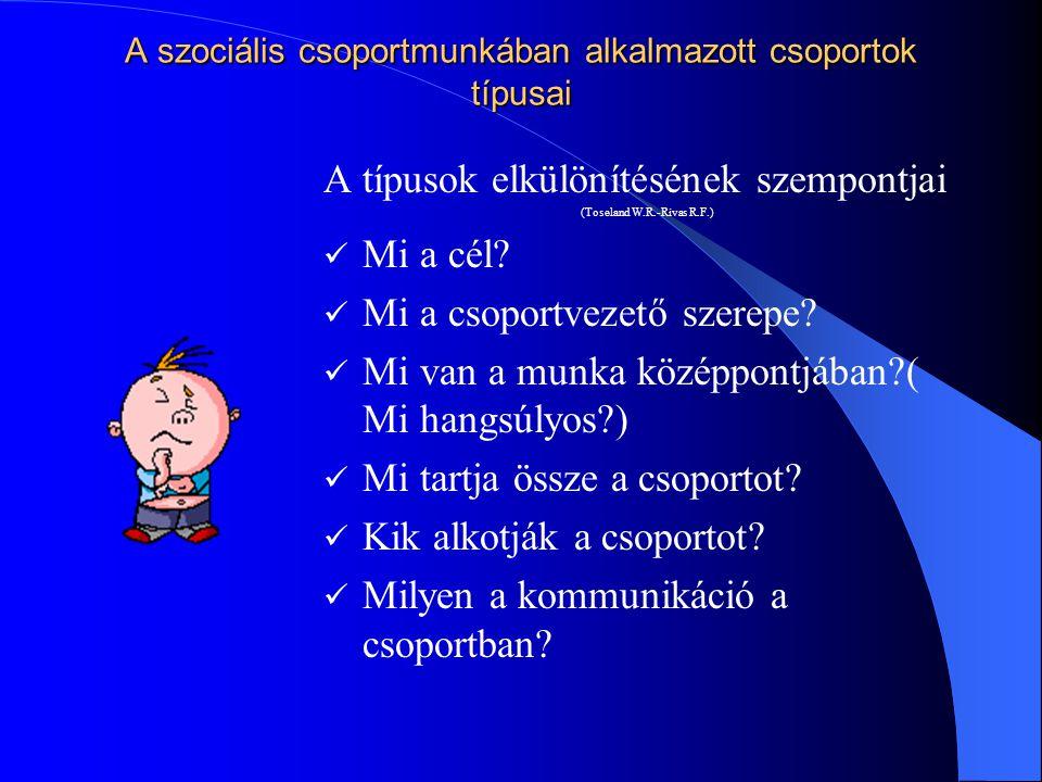 Szociális munkában alkalmazott csoportok típusai (Toseland W.R.-Rivas R.F.) Szervezeti igényeket szolgáló feladatcsoportok Bizottságok Adminisztratív csoportok Képviseleti testületek