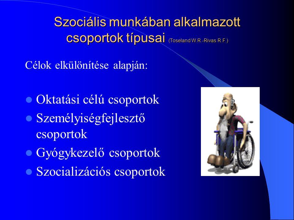 Szociális munkában alkalmazott csoportok típusai (Toseland W.R.-Rivas R.F.) Célok elkülönítése alapján: Oktatási célú csoportok Személyiségfejlesztő csoportok Gyógykezelő csoportok Szocializációs csoportok