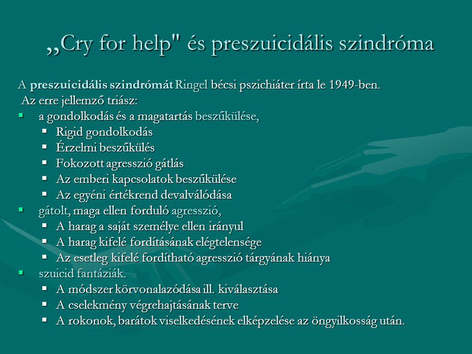 A preszuicidális szindrómát Ringel bécsi pszichiáter írta le 1949-ben. Az erre jellemző triász: Az erre jellemző triász:  a gondolkodás és a magatart
