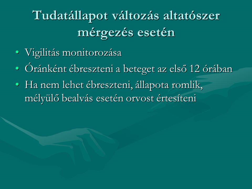 Tudatállapot változás altatószer mérgezés esetén Vigilitás monitorozásaVigilitás monitorozása Óránként ébreszteni a beteget az első 12 órábanÓránként