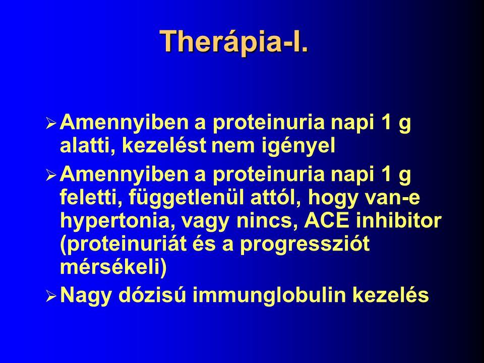 Laboratóriumi adatok  A betegek kb.10%-ban nephrosis syndroma  Esetek kb.