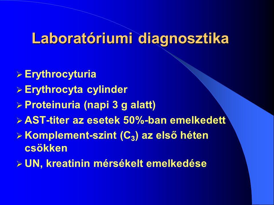 Klinikai kép  Pharyngitis, erysipelas, tonsillitis, scarlát-1-2 hét panaszmentes időszak  Mikroszkópos haematuria+proteinuria  Oedema, hypertonia (Volhard-féle trias)  Fejfájás, epilepsiás rohamok  Hypertensiós krízis dyspnoeval, tüdővizenyővel
