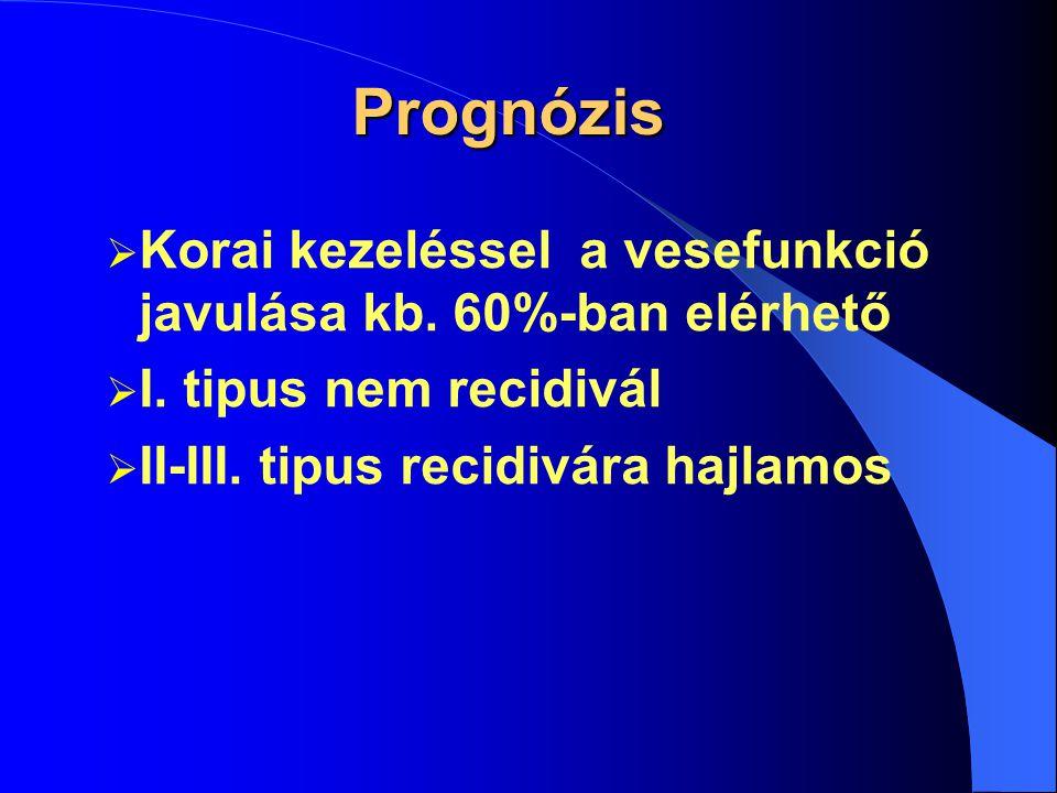 Therápia  I.tipusban Szteroid lökéskezelés és plazmaferesis Cyclophosphamid p.os.