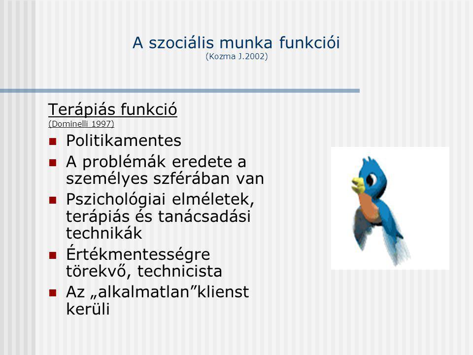 A szociális munka funkciói (Kozma J.2002) Terápiás funkció (Dominelli 1997) Politikamentes A problémák eredete a személyes szférában van Pszichológiai