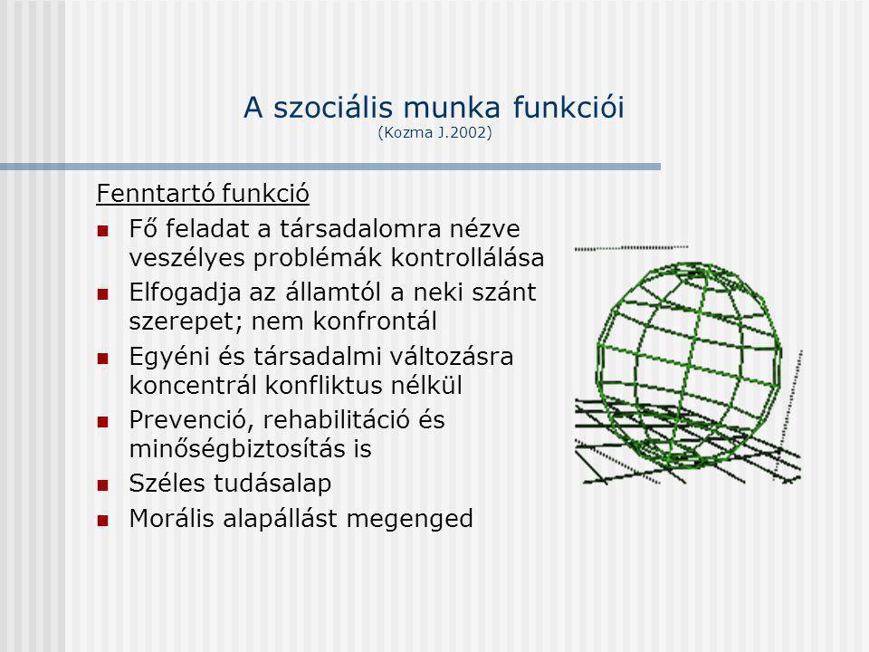 A szociális munka funkciói (Kozma J.2002) Fenntartó funkció Fő feladat a társadalomra nézve veszélyes problémák kontrollálása Elfogadja az államtól a