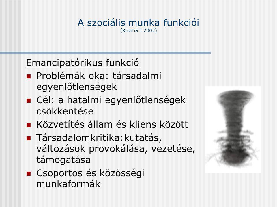 A szociális munka funkciói (Kozma J.2002) Emancipatórikus funkció Problémák oka: társadalmi egyenlőtlenségek Cél: a hatalmi egyenlőtlenségek csökkenté