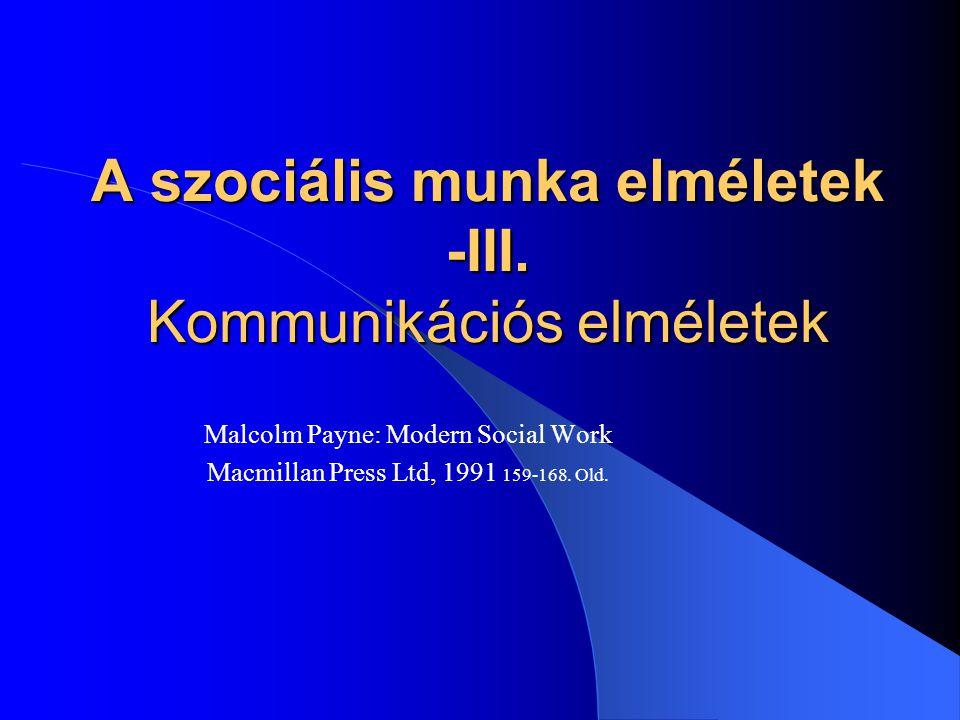 A szociális munka elméletek -III.