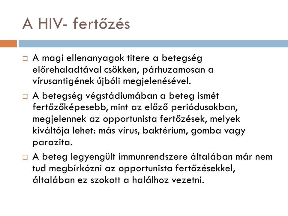 A HIV- fertőzés  A magi ellenanyagok titere a betegség előrehaladtával csökken, párhuzamosan a vírusantigének újbóli megjelenésével.