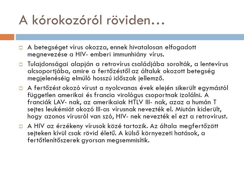 A kórokozóról röviden…  A betegséget vírus okozza, ennek hivatalosan elfogadott megnevezése a HIV- emberi immunhiány vírus.
