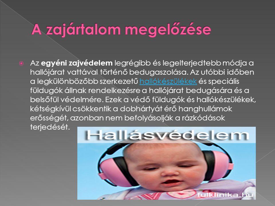  Az egyéni zajvédelem legrégibb és legelterjedtebb módja a hallójárat vattával történő bedugaszolása. Az utóbbi időben a legkülönbözőbb szerkezetű ha