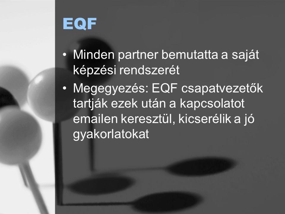 EQF Minden partner bemutatta a saját képzési rendszerét Megegyezés: EQF csapatvezetők tartják ezek után a kapcsolatot emailen keresztül, kicserélik a jó gyakorlatokat