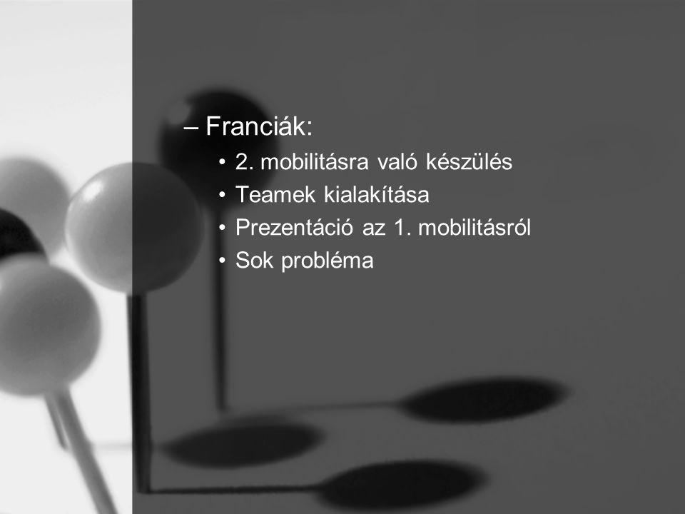 –Franciák: 2. mobilitásra való készülés Teamek kialakítása Prezentáció az 1.