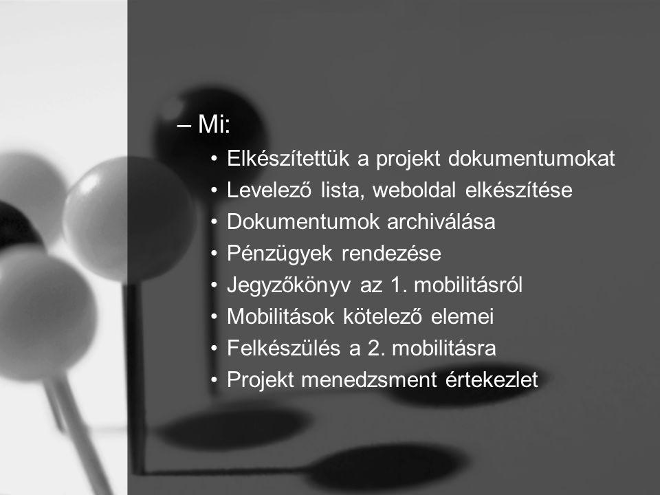 –Mi: Elkészítettük a projekt dokumentumokat Levelező lista, weboldal elkészítése Dokumentumok archiválása Pénzügyek rendezése Jegyzőkönyv az 1.