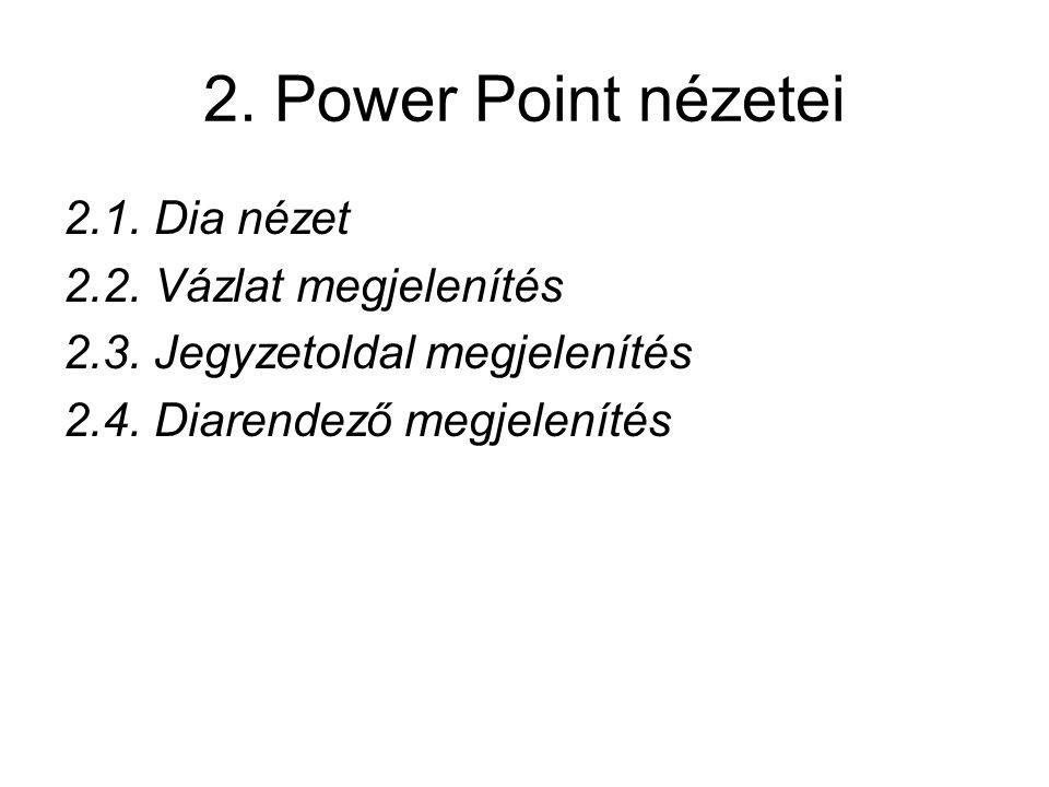 2. Power Point nézetei 2.1. Dia nézet 2.2. Vázlat megjelenítés 2.3. Jegyzetoldal megjelenítés 2.4. Diarendező megjelenítés