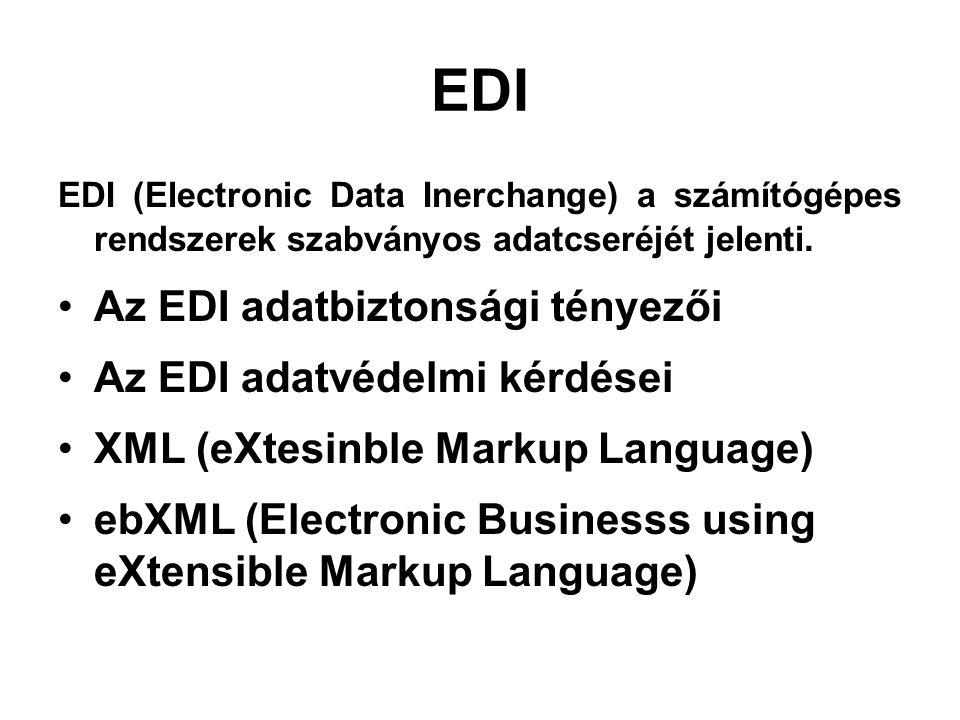 EDI EDI (Electronic Data Inerchange) a számítógépes rendszerek szabványos adatcseréjét jelenti.