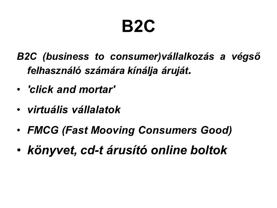 B2C B2C (business to consumer)vállalkozás a végső felhasználó számára kínálja áruját.