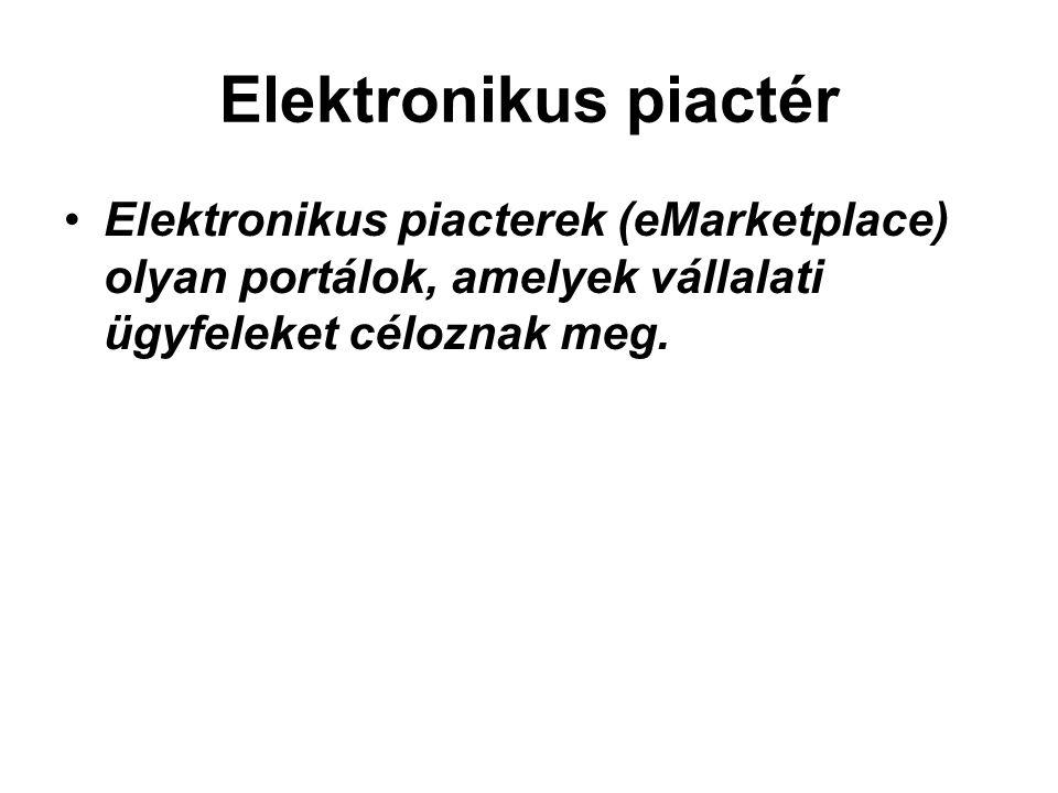 Elektronikus piactér Elektronikus piacterek (eMarketplace) olyan portálok, amelyek vállalati ügyfeleket céloznak meg.