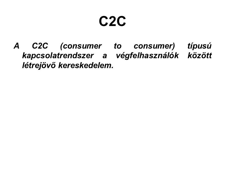 C2C A C2C (consumer to consumer) típusú kapcsolatrendszer a végfelhasználók között létrejövő kereskedelem.