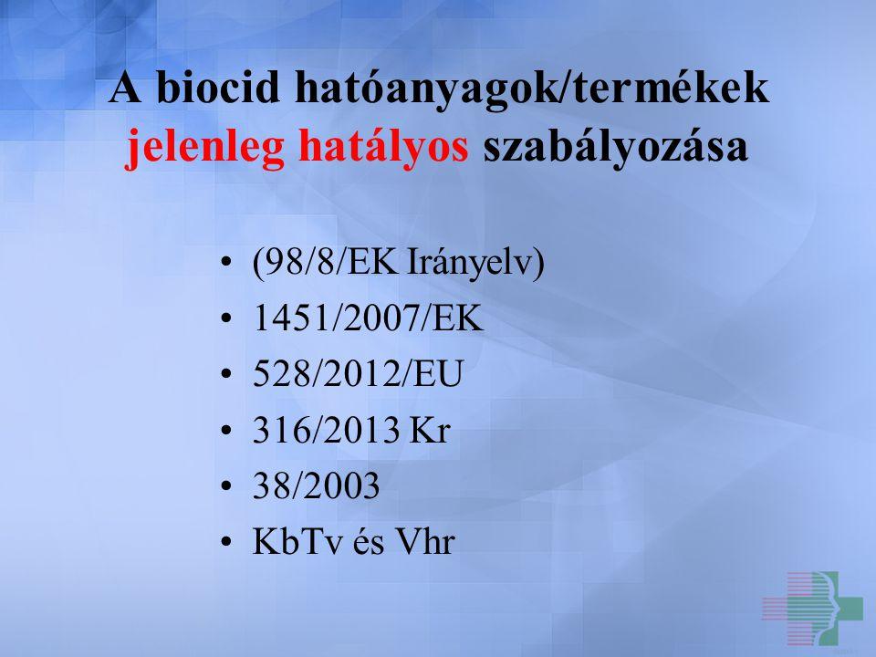 A biocid hatóanyagok/termékek jelenleg hatályos szabályozása (98/8/EK Irányelv) 1451/2007/EK 528/2012/EU 316/2013 Kr 38/2003 KbTv és Vhr