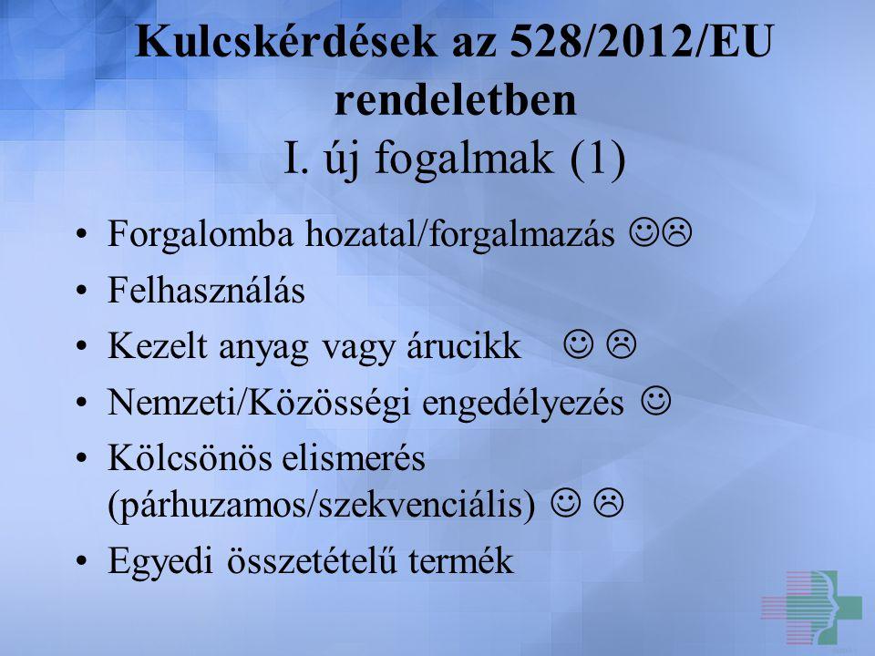 Kulcskérdések az 528/2012/EU rendeletben I. új fogalmak (1) Forgalomba hozatal/forgalmazás  Felhasználás Kezelt anyag vagy árucikk  Nemzeti/Közösség