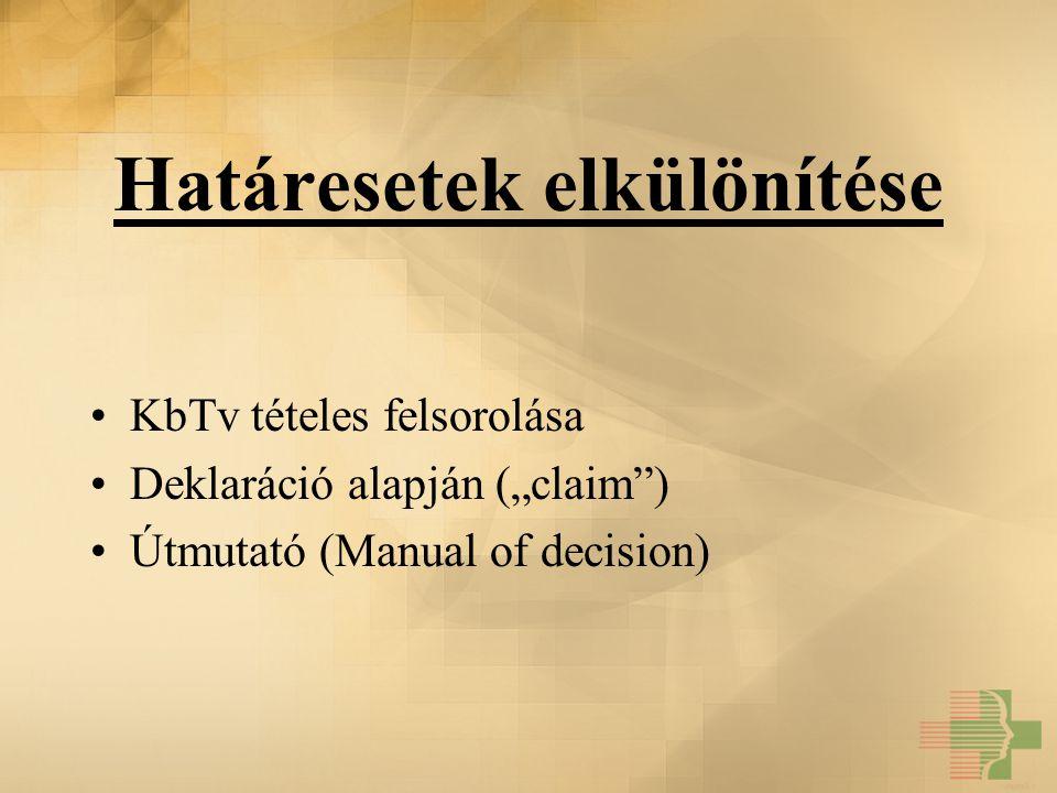 """Határesetek elkülönítése KbTv tételes felsorolása Deklaráció alapján (""""claim"""") Útmutató (Manual of decision)"""