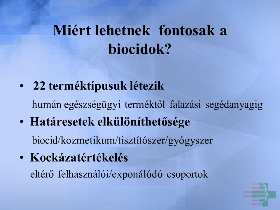 Miért lehetnek fontosak a biocidok? 22 terméktípusuk létezik humán egészségügyi terméktől falazási segédanyagig Határesetek elkülöníthetősége biocid/k