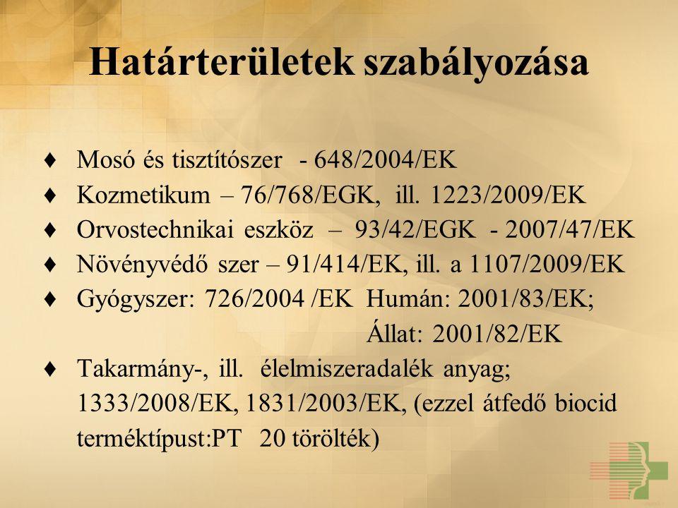 Határterületek szabályozása ♦ Mosó és tisztítószer - 648/2004/EK ♦ Kozmetikum – 76/768/EGK, ill. 1223/2009/EK ♦ Orvostechnikai eszköz – 93/42/EGK - 20