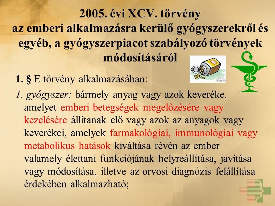 2005. évi XCV. törvény az emberi alkalmazásra kerülő gyógyszerekről és egyéb, a gyógyszerpiacot szabályozó törvények módosításáról 1. § E törvény alka