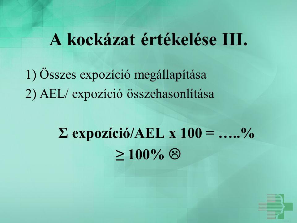 A kockázat értékelése III. 1) Összes expozíció megállapítása 2) AEL/ expozíció összehasonlítása Σ expozíció/AEL x 100 = …..% ≥ 100% 