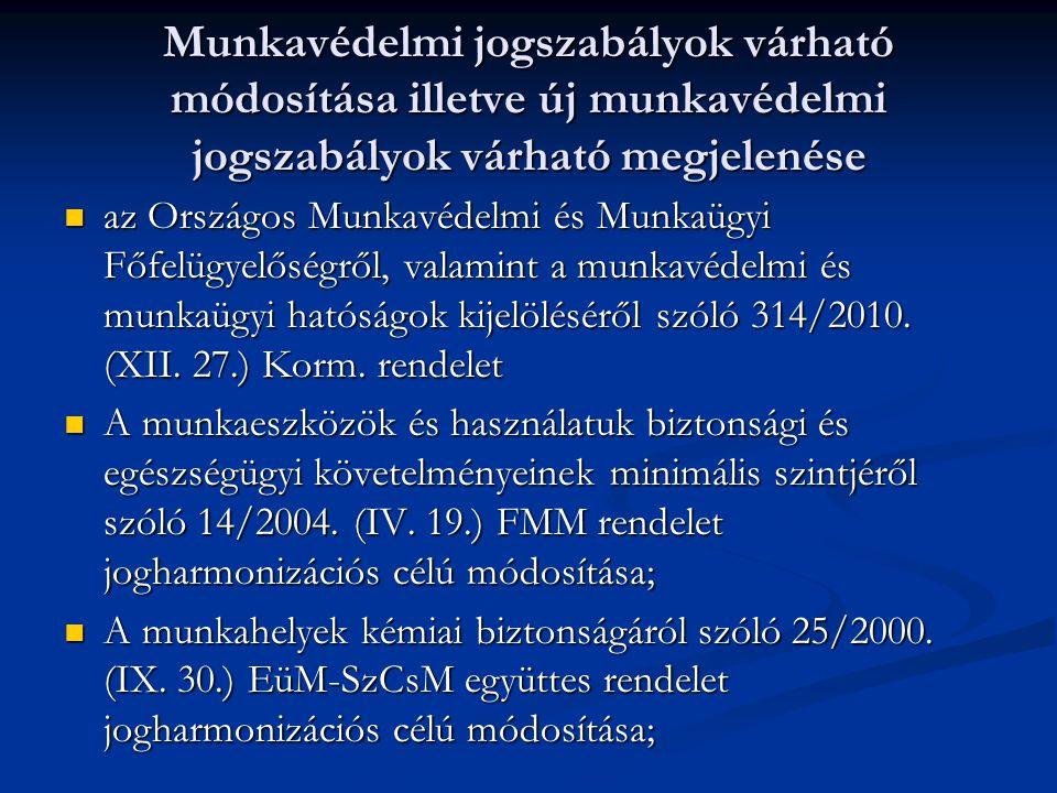 Munkavédelmi jogszabályok várható módosítása illetve új munkavédelmi jogszabályok várható megjelenése az Országos Munkavédelmi és Munkaügyi Főfelügyelőségről, valamint a munkavédelmi és munkaügyi hatóságok kijelöléséről szóló 314/2010.