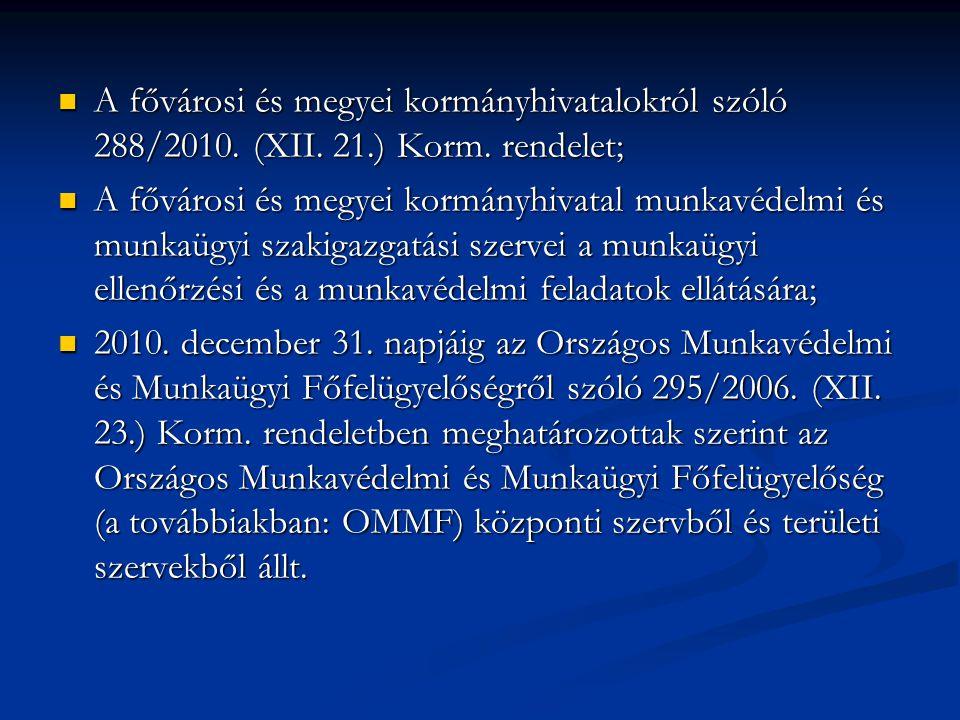 A fővárosi és megyei kormányhivatalokról szóló 288/2010.