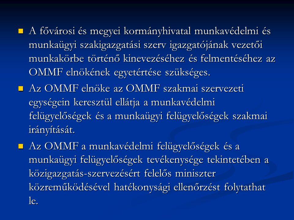 A fővárosi és megyei kormányhivatal munkavédelmi és munkaügyi szakigazgatási szerv igazgatójának vezetői munkakörbe történő kinevezéséhez és felmentéséhez az OMMF elnökének egyetértése szükséges.