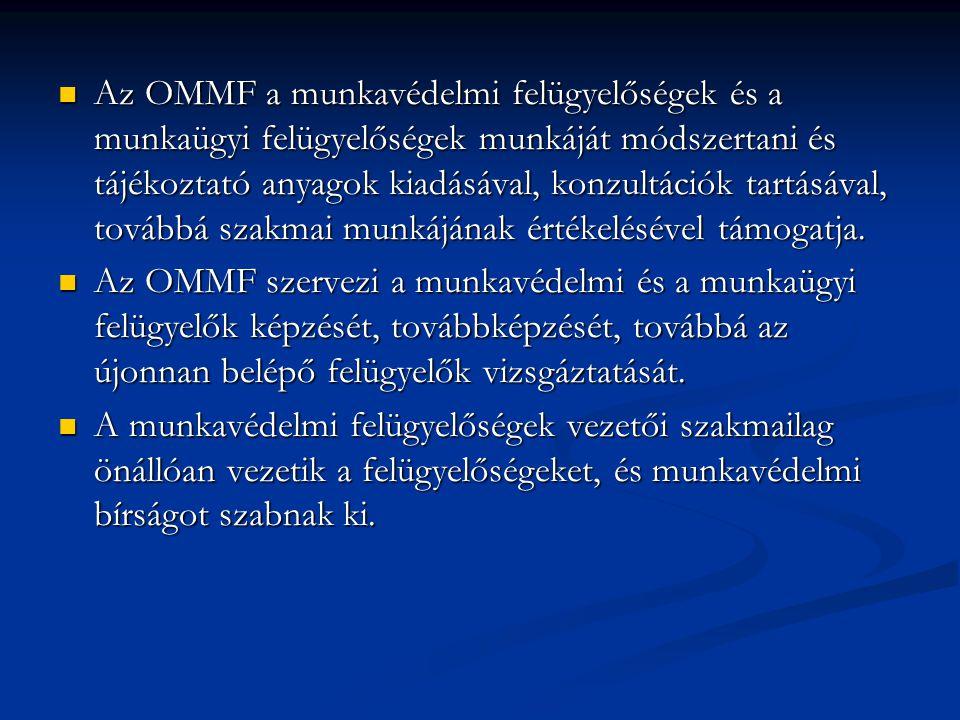 Az OMMF a munkavédelmi felügyelőségek és a munkaügyi felügyelőségek munkáját módszertani és tájékoztató anyagok kiadásával, konzultációk tartásával, továbbá szakmai munkájának értékelésével támogatja.