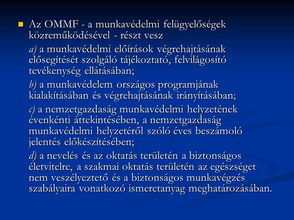 Az OMMF - a munkavédelmi felügyelőségek közreműködésével - részt vesz Az OMMF - a munkavédelmi felügyelőségek közreműködésével - részt vesz a) a munkavédelmi előírások végrehajtásának elősegítését szolgáló tájékoztató, felvilágosító tevékenység ellátásában; b) a munkavédelem országos programjának kialakításában és végrehajtásának irányításában; c) a nemzetgazdaság munkavédelmi helyzetének évenkénti áttekintésében, a nemzetgazdaság munkavédelmi helyzetéről szóló éves beszámoló jelentés előkészítésében; d) a nevelés és az oktatás területén a biztonságos életvitelre, a szakmai oktatás területén az egészséget nem veszélyeztető és a biztonságos munkavégzés szabályaira vonatkozó ismeretanyag meghatározásában.